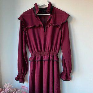 Pinko Burgundy Pleated Dress Sz 6